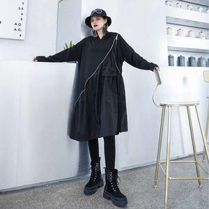 20190920 Medium-and-long loose-sized black cap-and-guard skirt
