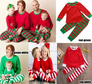 Family Christmas Pyjamas Set Erwachsene Frauen Männer Kinder-Mädchen-Jungen Striped Nachtwäsche Weihnachten Deer Nachtwäsche Kleidung Passende Familien Outfits 3 Farben