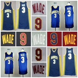 Factory Outlet-Mens Youth marquette golden eagles 3 9 Wade Mejor calidad bordados Logos NCAA College Basketball Jerseys, aceptar orden de mezcla