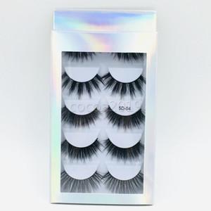 5 paires 5D vison 6 modèles denses naturel faux cils avec de haute qualité des cheveux de vison 3D avec la boîte de papier Livraison gratuite