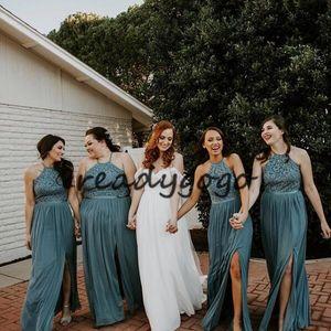 청록색 블루 비치 긴 신부 들러리 드레스 2019 보석 목 레이스 탑 슬릿 국가 보헤미안 주니어 웨딩 파티 게스트 가운 플러스 크기