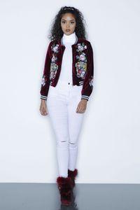 Осень Вышитые Бархатный Bomber Jacket Женщины Повседневная Coat Tiger Rose Верхняя одежда Модная Зимняя куртка Красный Черный Женский Марка