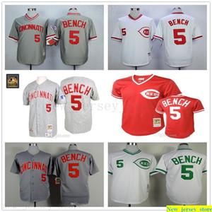 그레이 1969 조니 벤치 정통 저지 망 여성 청소년 스티치 5 Mitchell과 Ness 1990 시계 야구 유니폼을 되돌아갔습니다.