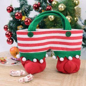 2019 XMAS Sıcak Satış Şenlikli Noel Noel Baba Pantolon Hediye Çanta Elf Boots Candy Bag Şenlikli Atmosfer Yeni yıl hediyesi bagaj ekle