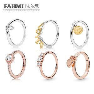 FAHMI 100% 925 Sterling Prata Shine amado ScriptClassic Anel de desejo Rose Love Lock Rosa Efervescente Elegance Anel