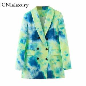 CNlalaxury Frauen Abbindebatik Jackett Herbst Weiblicher Blazer 2020 eleganter Chic zweireihiger Mantel Damen Blazer Femme Oberbekleidung