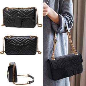 Marmont bolsa de 443.497 lujo bolsos con Ori bolsa del polvo diseñador G cadena del hombro bolsos de embrague de la manera del cuero de la PU señoras de gama alta Pochete bolsa