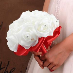 Handgemachte Bridesmaid Hochzeit Dekorationen 7 Farben Rose Fleurs artificielles Romantische Hochzeit Bouquet Braut Bridemaid Wedding Bouquet