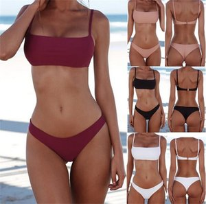 Dropship Mulheres New verão Sólido Bikini Set Push-up Unpadded Bra Swimsuit Swimwear Triângulo Banhista Suit Swimming Suit Free Ship
