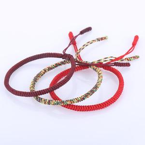 Diezi Prière bouddhiste tibétain Bracelet Noeud chanceux corde Bracelets Hommes Femmes main Weave Bracelet Tressé