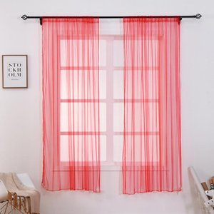 Perforating Curtains Solid Color Voile Gray Window Modern Curtains for Living Room Tulle Sheer Fabrics Rideaux Cortinas 1 x 1.5M