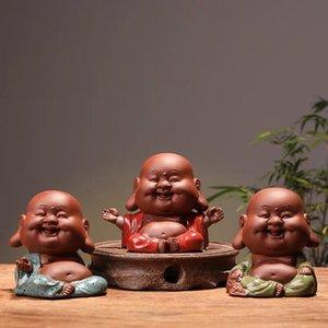 زن مايتريا الحيوانات الأليفة الشاي زيشا الحلي لطيف يمكن زراعتها اللعب الفرح سعيد تمثال بوذا الشاي الفن الديكور المنزلي