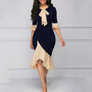 2019 estate Vintage Elegant Lady ufficio dei vestiti dalle donne Mermaid chiarore del manicotto dell'arco del collare asimmetrici Falbala ragazze sexy abito femminile