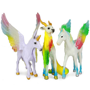 Simulazione Modello animale Cavallo Unicorno Pegasus Arcobaleno Pecore Action Figures Toy Learning Educational Collection Gift for Kids