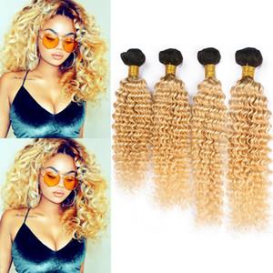 Blonde Ombre Cabello humano Paquetes onda profunda brasileña de la armadura # 1B del cabello humano 613 Ombre 4 Bundle ofertas de oscuras raíces Virgen extensiones del pelo