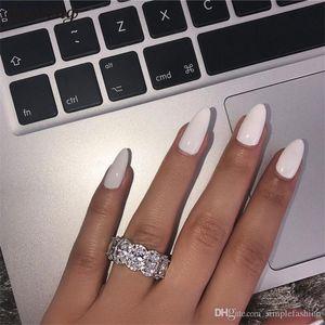 vecalon Потрясающей Limited Edition Вечность Группа Promise Ring 925 Silver 11pcs Овальный Diamonds Cz обручальных колец для женщин