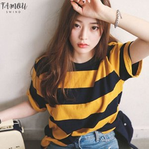 Women Shirt Yellow And Black Striped T Shirt Round Neck Collar Loosen Half Sleeve T Shirt Casual Tops