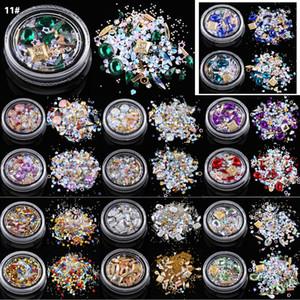 Bunte Nail Art Dekoration Charm Gem Perlen Strass Hohl Acryl Flake Flatback Rivet Gemischte Glänzende Glitter 3D DIY Zubehör