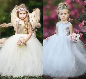 Vestidos de niña de las flores con lentejuelas brillantes plateadas / doradas baratas Vestidos de novia formales de tul sin respaldo Vestidos de novia formales de fiesta de cumpleaños Vestido de Navidad