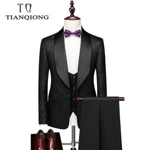 TIAN Qiong de Moda de Nova Marca Blazers Homens paletó Casual Slim Fit Prom noivo Negócios Anfitrião Wedding Impressão Suit Tuxedos