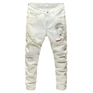 Sokotoo patchwork de cristal de la mode hommes jeans blanc conception Streetwear Patch Slim Fit extensible pantalons en denim