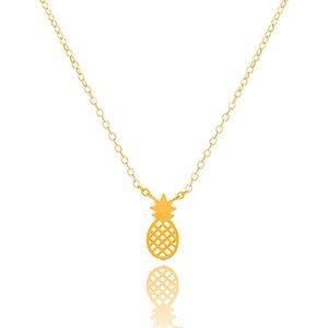 Cadeia DIANSHANGKAITUOZHE Gold Silver Rose de ouro charme Corpo Abacaxi Colar Pingente de aço inoxidável Ananas jóias para as mulheres