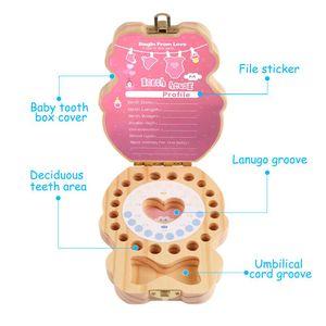 Toplama Erkekler Kızlar Göbek kaydet Keepsake Souvenir için Bebek Ahşap Diş Kutu Organizatör İspanyolca İngilizce Diş Depolama
