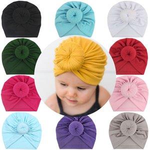 Art und Weise nette Baby Ball Knot indischen Turban Bunte Frühlings-Kind-Kleinkind-Kind-Donuts Solid Color Cotton Hair T9I00239