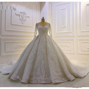 Gerçek Görüntüler Lüks Dubai Uzun Kollu Dantel Aplike Prenses A-line Gelinlik DRESSA Pırıltılı payetli Boncuklu Arapça Gelin Elbise