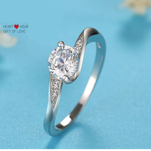 New s925 silver ring Fashion Elegant Zircon Simulation Deluxe Diamond Ring With Side Stones Band Rings Wholesale Free Shipping