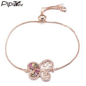 Pipitree Prenses Taşlı Kelebek Charm Bileklik Slider Zinciri Kadınlar Düğün Takı için CZ Kristal Bilezikler
