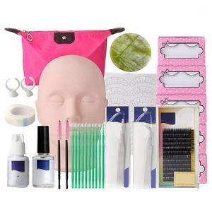 ABVP أداة إمتدادات رموش عدة رموش شبه دائمة Make Up Individual False Lash Curl Glue Tweezer Practice Graft Lashes1