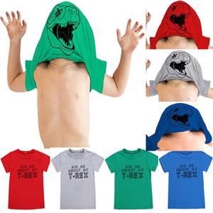 Дети Смешные Письма СПРОСИТЕ МНЕ О Футболке с коротким рукавом внутри животных Динозавр печатных футболках в маске 4 цвета для Детей 2-7 Т
