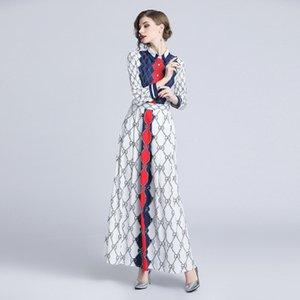 Frauen-Partei Kleider Modemarke Roter und blau Plaid Sexy Abend Damen einreihiger Knopf Hemdkragen digital Buchstabedruckes lange Kleid