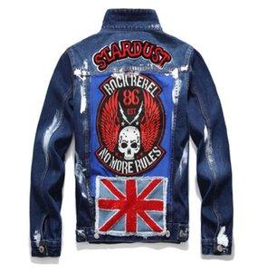 Hallo Straßenmode Männer Flag Denim UK Für Stickerei Denim Jacke Jacke Mantel Streetwear Gemalt männlich PKLRM