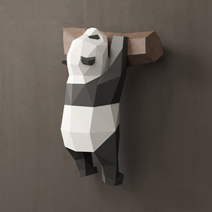 3D geometric panda ornaments wall decoration creative cute funny national treasure paper model hand made DIY creative home cartoon ins