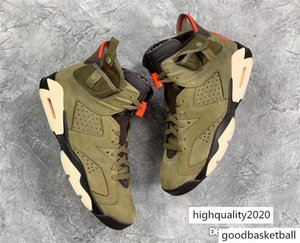 Release Authentic 6S Travis Scott x Air 6 Medium Olive 3M Reflective Retro Black Sail Red Mens Basketball Shoes Sneakers CN1084-200