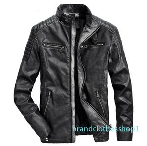 Fashion-Leather Jacket Men For Motorcycles Vintage Brown Black Parka Slim Male Winter Warm Casual Moto Biker Jacket Coat