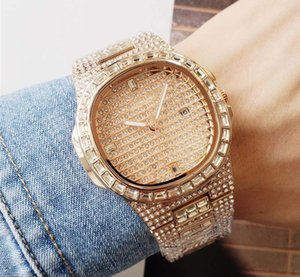 Big Dial Square Voller Diamanten Uhren Wasserdicht Luxus Männer Frauen Uhren Mode Quarz Armbanduhren Edelstahl Kühlen Kalender Herrenuhr