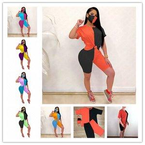 Manga curta New Verão Mulheres Color Contrast Designer Treino Fato de Três Peças T-shirt Tops + Shorts + Máscara Apertado Sexy roupa ocasional D63005
