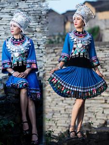 Vêtements pour Costumes ethniques chinois Style de broderie Bleu Folk Dance Performance Costume adulte Outfit femmes Miao Chapeau Vêtements