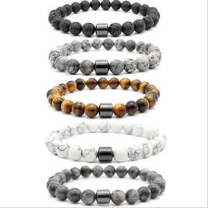 8mm Naturstein Lava Stein Türkis Tiger Eye Perlen Hämatit Armband DIY Glamour Schmuck Armband Für Frauen Männer Armreif Armband