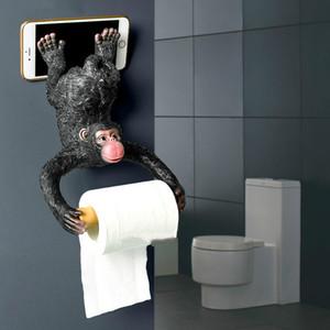 유럽 스타일 욕실 원숭이 조직 롤 화장실 수지 방수 종이 홀더 벽 T200425 매달려