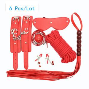 Секс наручники зажимы для сосков хлыст рот кляп хлопок веревка БДСМ маска для глаз бондаж набор сексуальное женское белье наручники секс игрушки