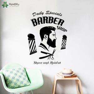 Quote Recados barbeiro adesivo vinil Man Cabeleireiro Decalque Janela Decor removível Moda Penteado Bigode Modern DIY