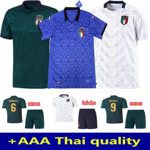 Homem + Crianças 2020 Itália Jersey 20 21 Verde Escuro Jorginho El Shaarawy Bonucci Insigne Bernardeschi Camisas de Futebol Itália Soccer Jersey