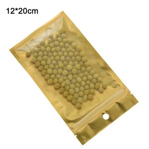 12x20cm Matte Clear Golden Zipper Package Bags with Roudn Hang Hole Custodia per cellulare Accessori elettronici Conservazione alimenti Mylar Sacchetti Sacchetto 100 pezzi