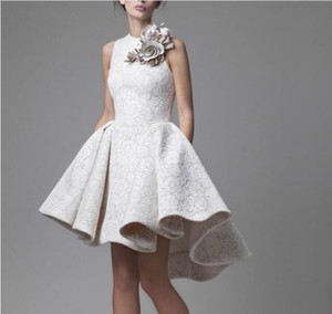 Krikor Jabotian Ball Gown Short A Line Cocktail Dresses Full Lace High Low Jewel Neck Party Dress Prom Homecoming Gowns With Flowers
