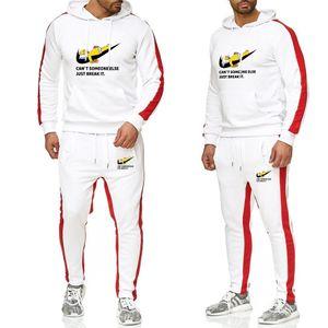 2019 Nouveau chaud Deux deux pièces costume athlétique hommes nouveau sweat-shirt à capuche automne marque / hiver + bretelles sweat à capuche épaissie hommes