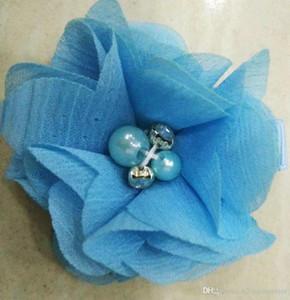 TURQUOISE BLUE Chiffon Blumen Mit Perle Strass Center Künstliche Blume Stoff Blumen Kinder Haarschmuck Baby Clips Blume